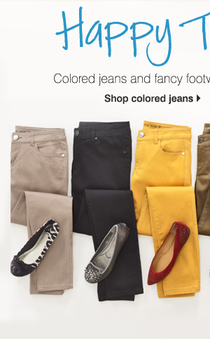 Happy Together Colored jeans and fancy footwear make the perfect couple. Shop colored jeans.
