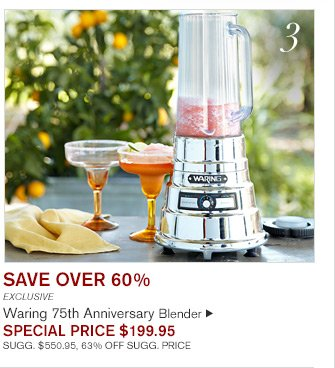 SAVE OVER 60% - EXCLUSIVE - Warning 75th Anniversary Blender - SPECIAL PRICE $199.95 - SUGG. $550.95, 63% OFF SUGG. PRICE