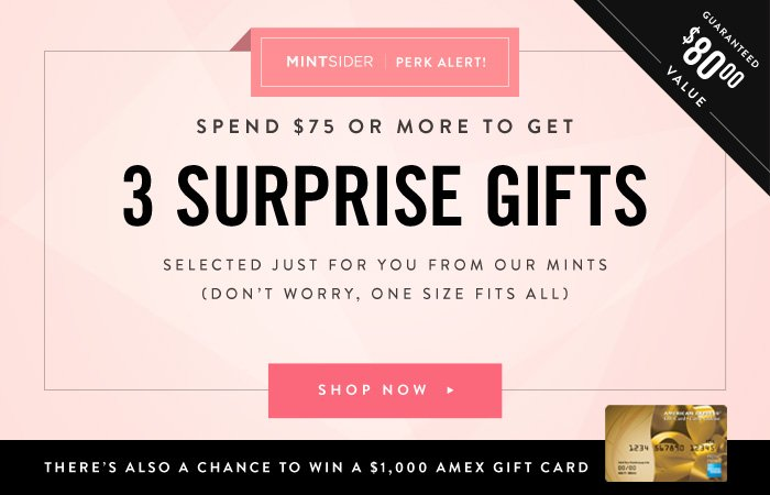 Spend $75 or More to get 3 Surprise Gifts