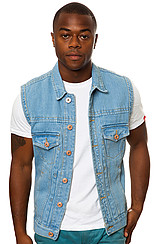 Bellfield Sid Stone Wash Denim Vest in Stonewash