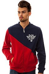 PLay Cloths Sliced Color Blocked Varsity Jacket in Red