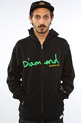 Diamond Supply Co OG Script Zip Up Hoody in Black