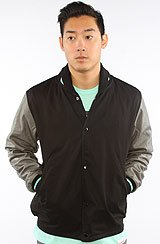Diamond Supply Co Brilliant Twill Varsity Jacket in Black, Gray, Diamond Blue