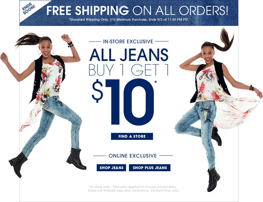 All Jeans Buy 1 Get 1 $10