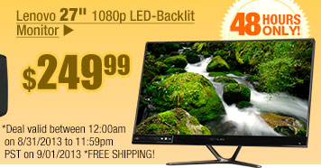 "$269.99 - Lenovo 27"" 1080p LED-Backlit Monitor"