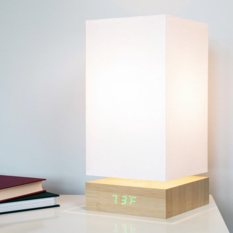 Click Clock Lamp // Green LED // Beech
