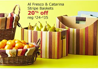 Al Fresco & Catarina Stripe Baskets 20% off