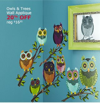 Owls & Trees Wall Appliqué 20% Off