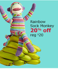 Rainbow Sock Monkey 20% off