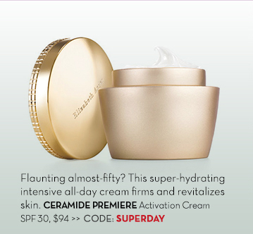 Flaunting almost-fifty? This super-hydrating intensive all-day cream firms and revitalizes skin. CERAMIDE PREMIERE Activation Cream SPF 30, $94. CODE: SUPERDAY.