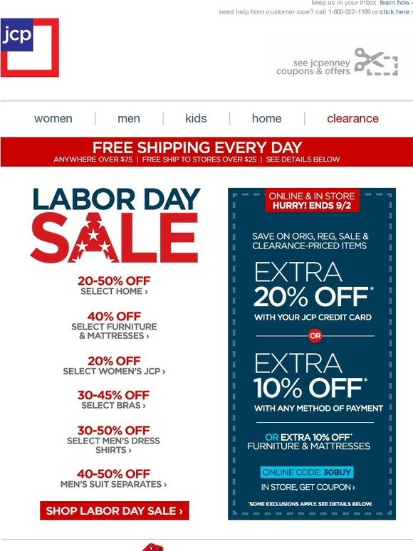 JC Penney: LABOR DAY SALE + EXTRA 10-20% Off