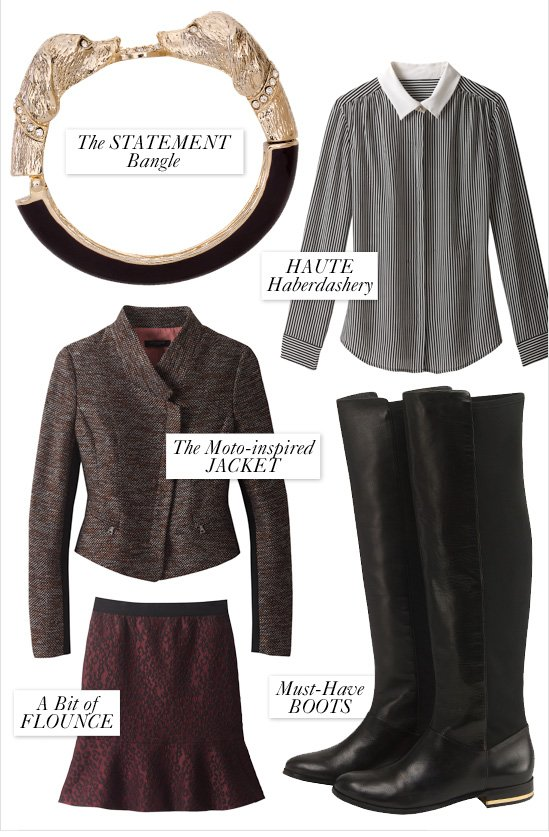 The Statement Bangle Haute Haberdashery  The Moto–Inspired Jacket A Bit Of Flounce Must–Have Boots