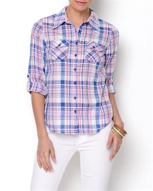 Stylebook Plaid Button-Up Blouse