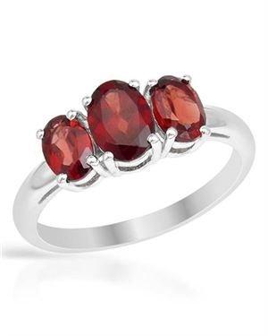 Ladies Garnet Ring Designed In 925 Sterling Silver