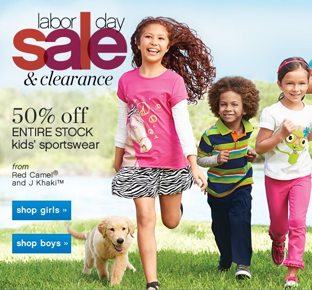 Labor Day Sale and Clearance. 50% off entire stock kids' sportswear.