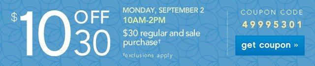 $10 off $30. Get coupon.