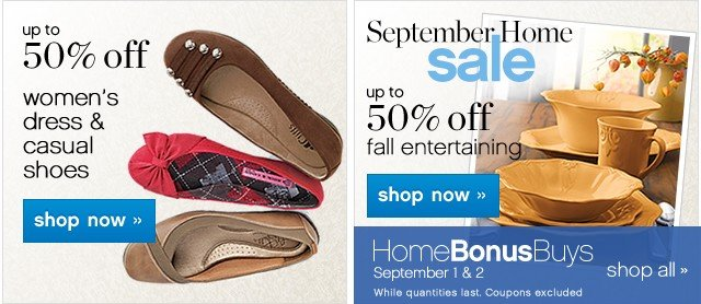 Up to 50% off Women's dress and casual shoes. Shop now. Home Bonus Buys. Shop all.