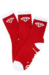The OG High Cut 3 Pack Socks in Red and White