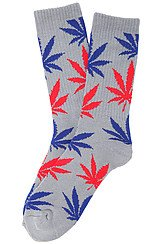 The Plantlife Socks in Grey, Red, and Blue