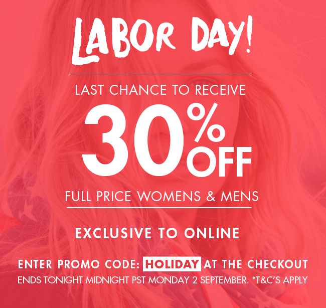 30% off full price Women's and Men's