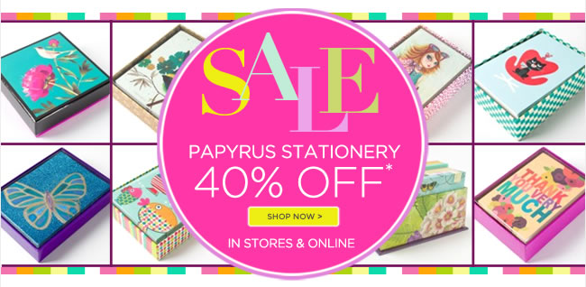 40% off all PAPYRUS boxed note cards & stationery