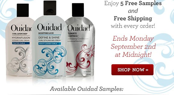 Enjoy 5 Free Samples and Free Shipping with every order! Ends Monday September 2nd At Midnight!