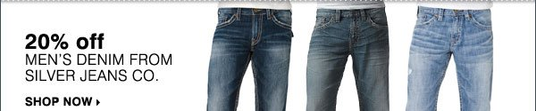 20% OFF men's denim from Silver Jeans Co. Shop now.