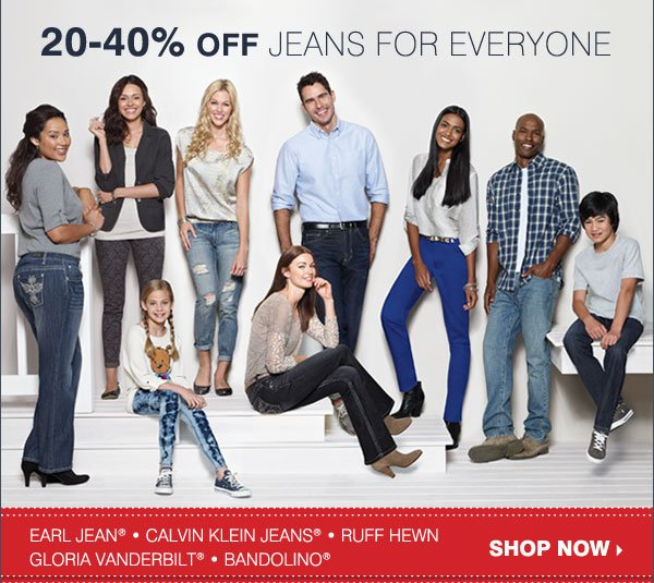20-40% OFF JEANS FOR EVERYONE! Shop now.