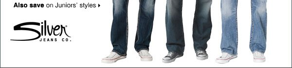 20% OFF men's denim from Silver Jeans Co. Also save on Juniors' styles.