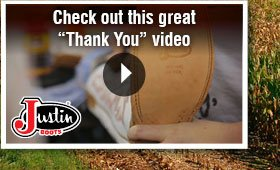 """Justin Boots Says """"Thank You"""""""