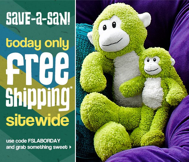 Save-a-san! Today only. Free shipping* sitewide.