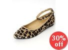 Ankle Strap Leopard Print Pointy Toe Flats