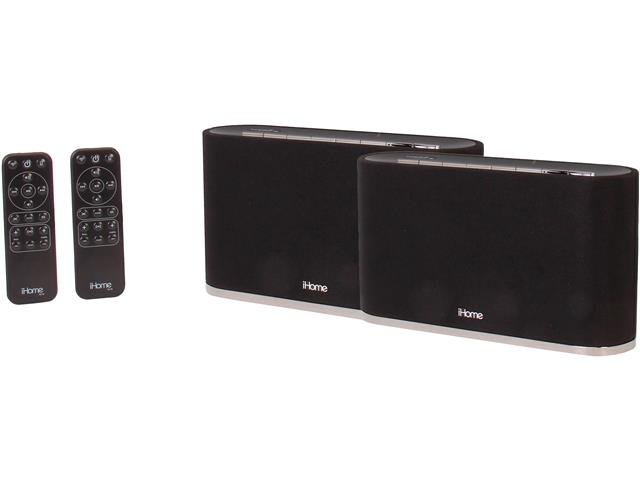 iHome AirPlay Wireless Stereo Speaker System iW2BC (2pcs in one package)