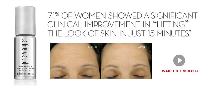 "71% OF WOMEN SHOWED A SIGNIFICANT CLINICAL IMPROVEMENT IN ""LIFTING"" THE LOOK OF SKIN IN JUST 15 MINUTES.† WATCH THE VIDEO."