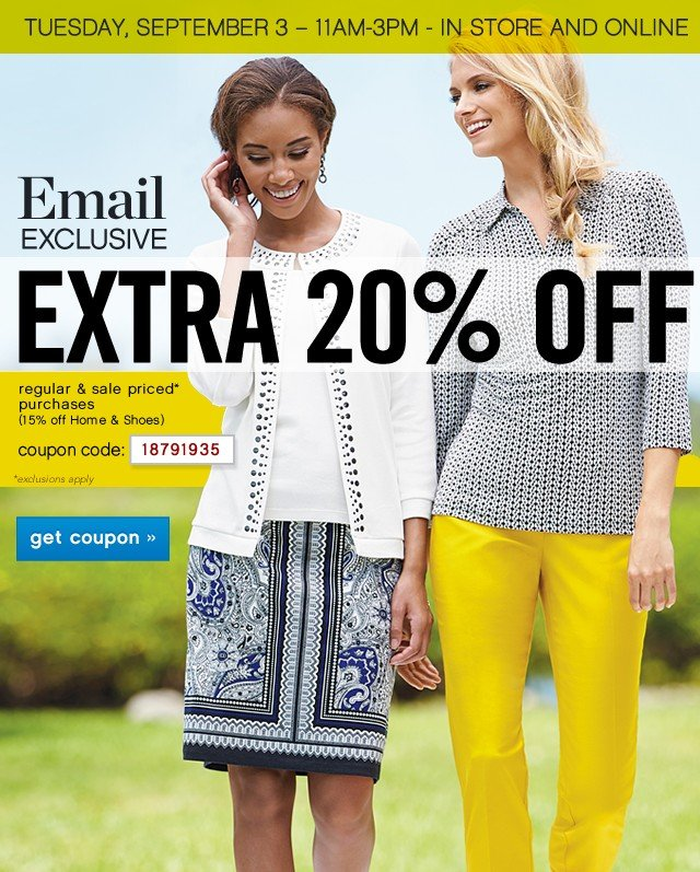 Email Exclusive. Extra 20% off. Get coupon.