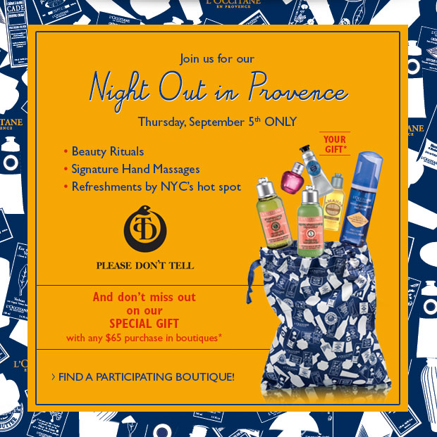 Night Out in Provence Thursday, September 5th Only
