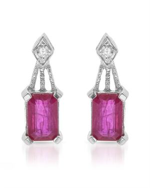 Gold Ruby 1.26 CTW Weight 1.4g. Earrings Ladies