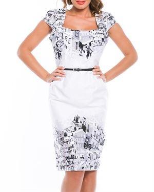 Estella Printed Knee Length Dress Made In Europe