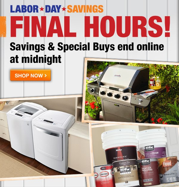 LABOR DAY SAVINGS FINAL HOURS!