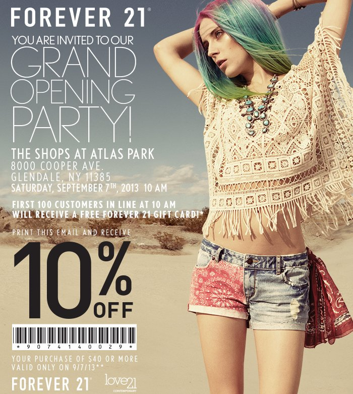 Forever 21 Grand Opening Event | September 7th 10am | The Shops at Atlas Park