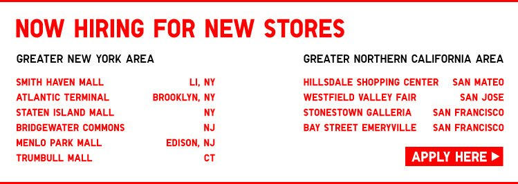 NOW HIRING FOR NEW STORES