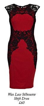 Wax Lace Silhouette Shift Dress
