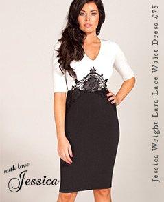 Jessica Wright Crochet Neckline Shift Dress