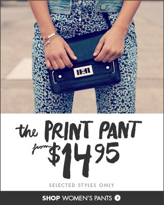 Shop the ladies print pant!