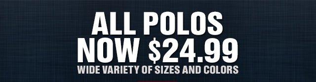 ALL POLOS NOW $24.99