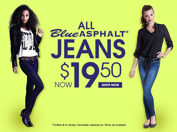 All Blue Asphalt Jeans Now $19.50