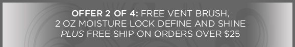 OFFER 2 OF 4 - Free Vent Brush, 2 oz Moisture Lock Define and Shine PLUS Free Ship on orders over $25