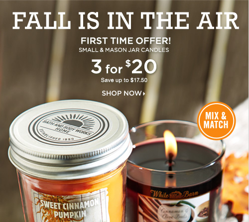 Small & Mason Jar Candles – 3 for $20