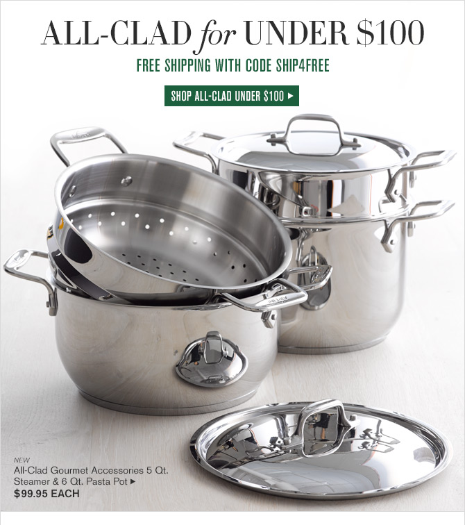 ALL-CLAD for UNDER $100 - FREE SHIPPING WITH CODE SHIP4FREE -- SHOP ALL-CLAD UNDER $100