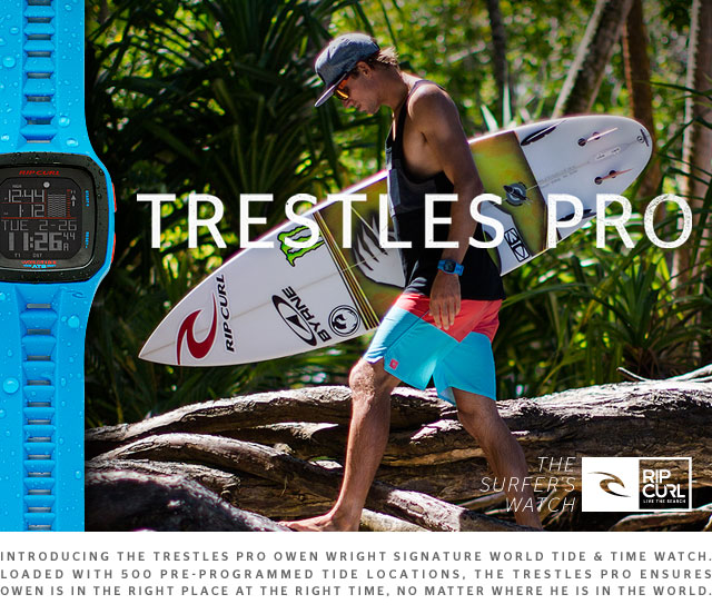 Introducing the Trestles Pro Owen Wright signature World Tide & Time watch. Loaded with 500 pre-programmed tide locations, the Trestles Pro ensures Owen is in the right place at the right time, no matter where he is in the world.